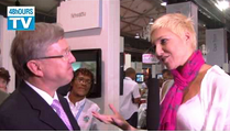 Minister of Tourism Martinus van Schalkwyk talks to Liezel vd Westhuizen at Indaba 2014