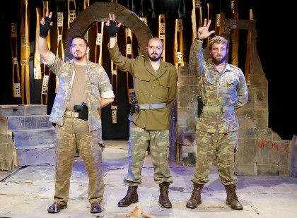 Horrors of warfare viscerally enacted on stage