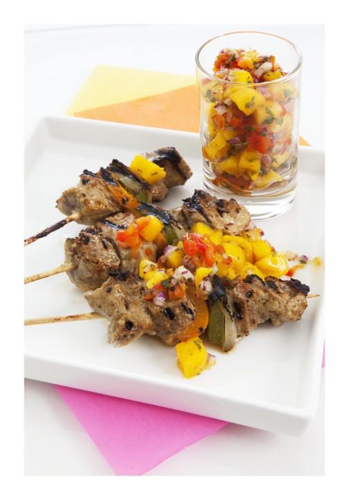 Marinated Lamb Kebabs with Mango Salsa