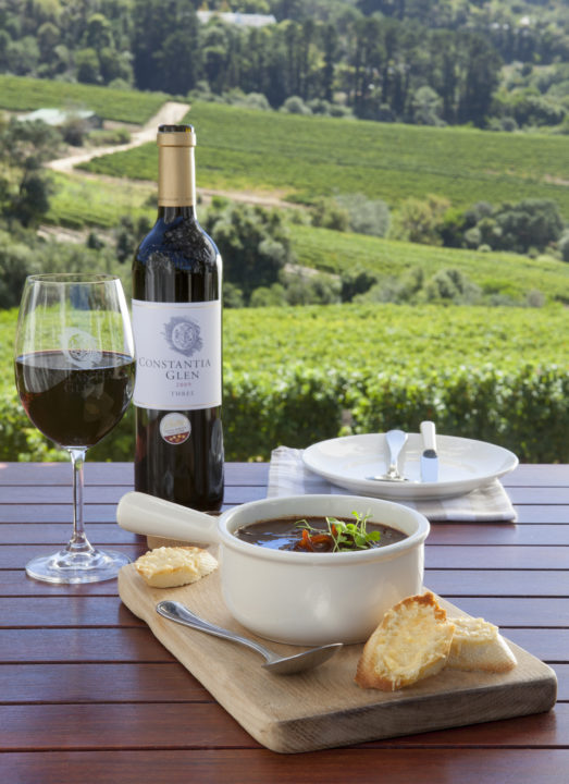 The French Onion soup option at Constantia Glen is served with crispy gruyere toast