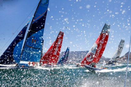 VOLVO OCEAN RACE FLEET FLYING OUT OF CAPE TOWN
