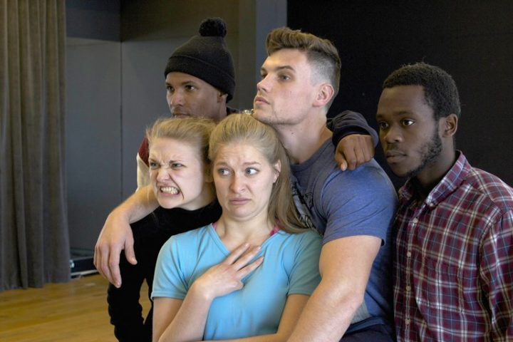 The cast of The Third Force during rehearsals at Artscape Theatre