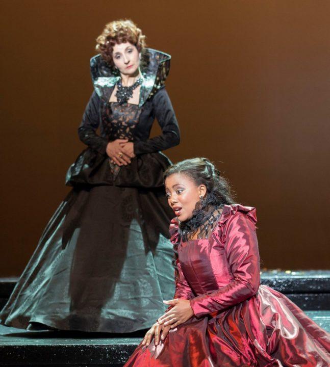 Violina Anguelov and Vuvu Mpofu, seen here in the 2015 production of Maria Stuarda, return