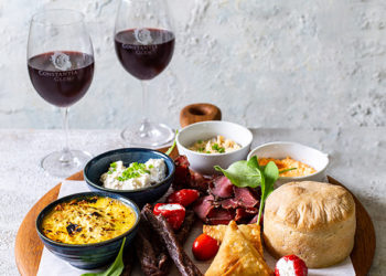 Constantia Glens South African Platter and red wine