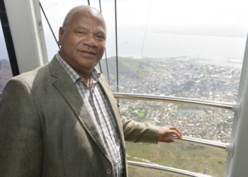 The Mayor riding the Table Mountain cable car